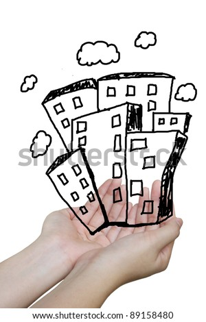 The real estate illustration on hand holding - stock photo