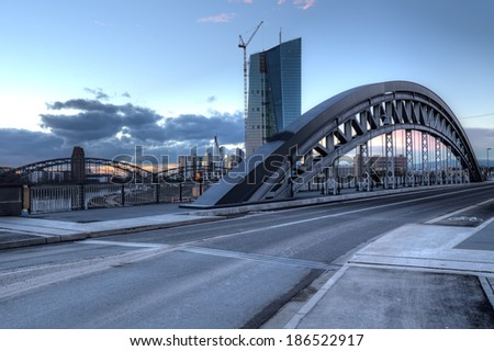 The recently renovated Honsellbruecke in Frankfurt that leads to the new European Central Bank - stock photo