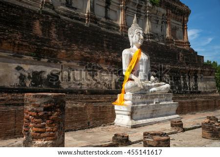 The Reclining Buddha status at ayuttaya province,Thailand. Buddha of Thailand. background - stock photo