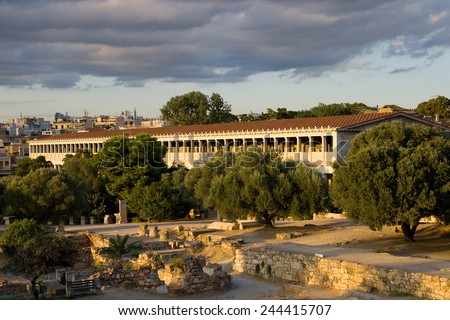 The reconstructed Stoa of Attalos in the Athenian Agora, Greece. - stock photo