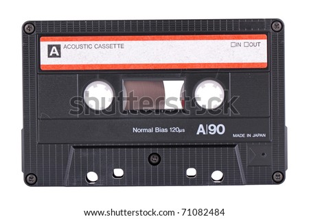 The recorder cassette, isolated on a white background - stock photo