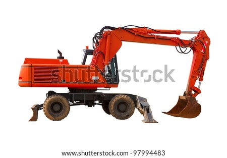 The red industrial excavator. Isolated. - stock photo