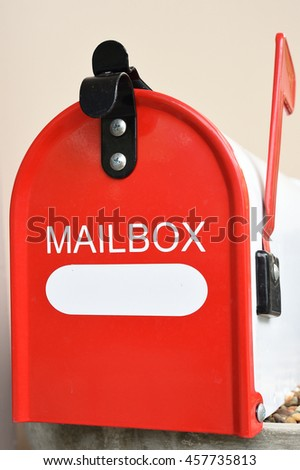 The red metal mail box  - stock photo