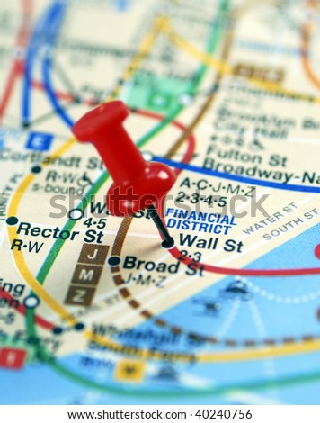 The red pin nailed on the Wall Street stop - stock photo