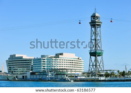 "The red port cable in Barcelona.The official name is Transbordador Aeri del Port, but it is often called the ""Teleferico de Montjuic"". - stock photo"