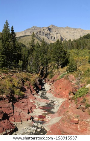 The Red Rock Canyon in Waterton Provincial Park, Alberta, Canada - stock photo