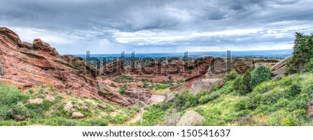 The Red Rocks Amphitheater landscape formations  in Denver Colorado - stock photo