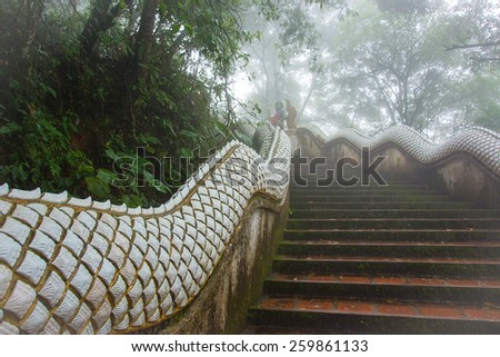 The red, stone steps and serpentine railing which lead up the misty peak of a mountain in Norther Thailand. The atmosphere is foggy and the surroundings green with trees and vegetation. - stock photo