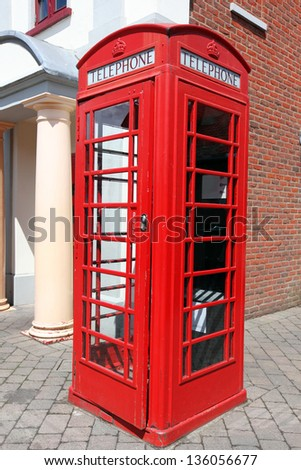 the Red telephone box, London, UK - stock photo