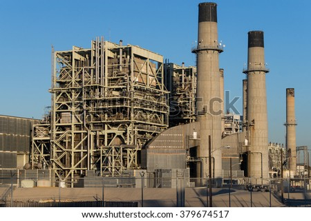 The Redondo Beach Power Plant, a gas-powered electricity plant whose future is the subject of ongoing discussions and election polls. - stock photo