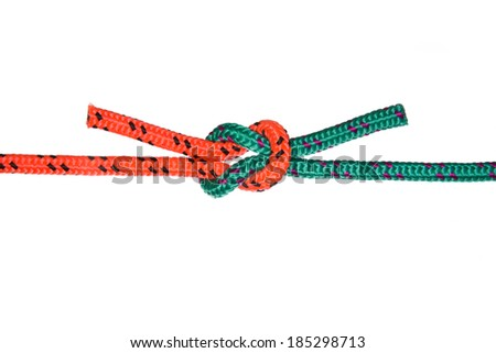 The Reef Knot. Collection of photos - knots used in mountaineering and rock-climbing - stock photo