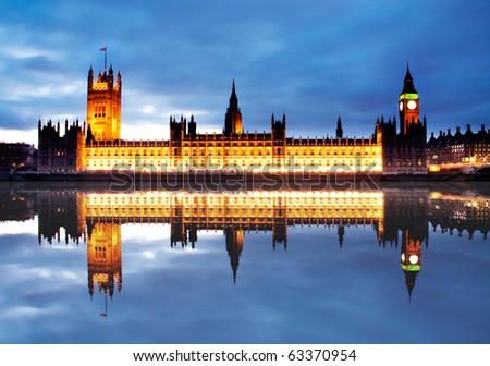 The reflection of Westminster palace - stock photo