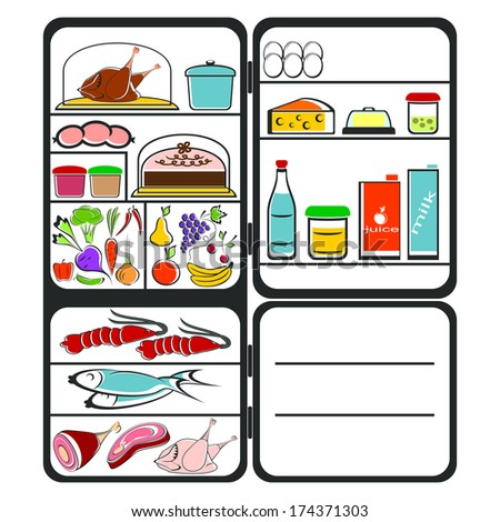 The refrigerator with food on a white background. Colorful composition. EPS version is available as ID 156442580. - stock photo