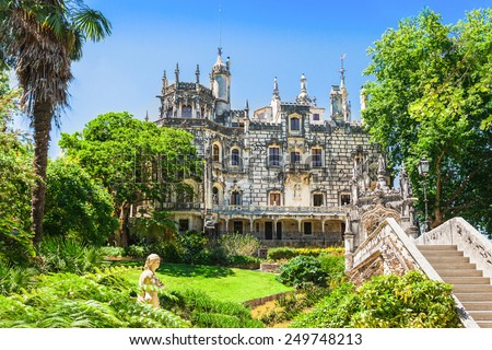 The Regaleira Palace (Quinta da Regaleira), Sintra, Portugal - stock photo