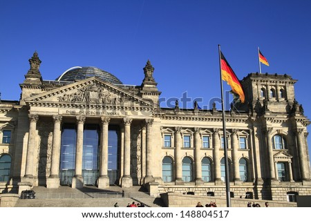 The Reichstag building in Berlin, Germany - stock photo