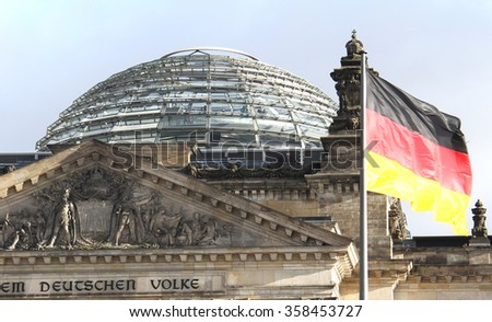 The Reichstag building in Berlin housing the German parliament - stock photo