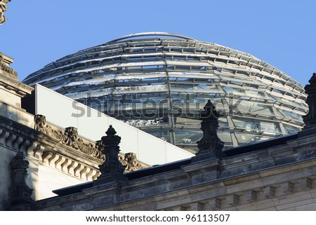 The Reichstag building sphere roof, Berlin, Germany - stock photo