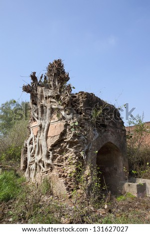 the remains of an old ruined fort in rural Punjab with unkempt vegetation and gurdwara under a blue sky - stock photo