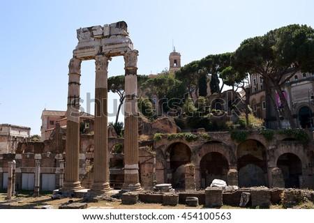 The remains of the Temple of Venus Genetrix in the Forum of Caesar (Forum Iulium), Rome, Italy - stock photo