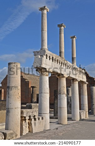 The remains of the two tier colonnade on the forum, Pompeii, Italy - stock photo