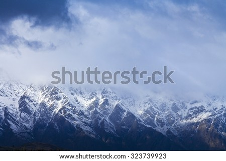 The Remarkables mountain range in the South Island, Central Otago, New Zealand - stock photo