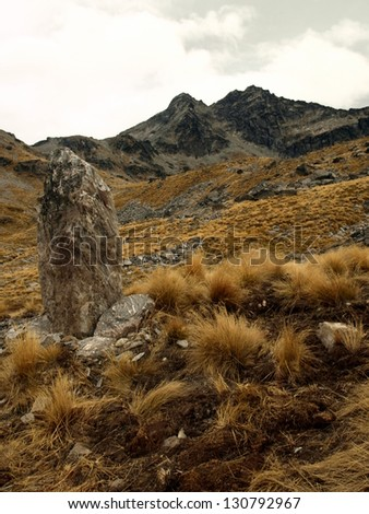 The Remarkables range near Queenstown, New Zealand - stock photo