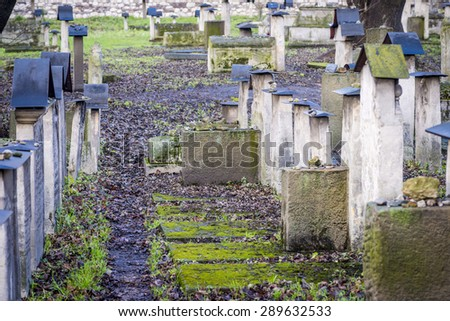 The Remuh Cemetery in Jewish District in Krakow Kazimierz - stock photo