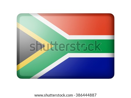 The Republic of South Africa flag. Rectangular matte icon. Isolated on white background. - stock photo
