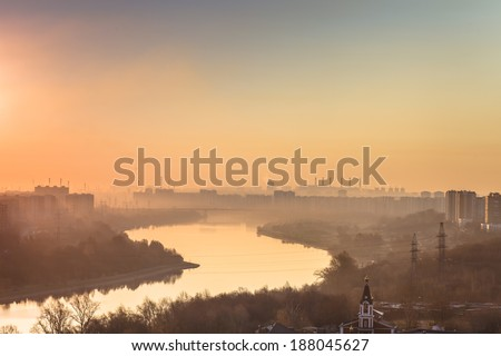 the residential area in Moscow early in the morning under a smog - stock photo