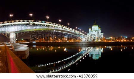 The restored Cathedral of Christ the Savior in Moscow at night - stock photo
