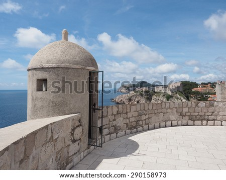 The Restored Guard Tower of the City Wall of Dubrovnik, Croatia     - stock photo