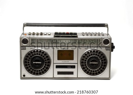 The retro cassette radio on white background - stock photo