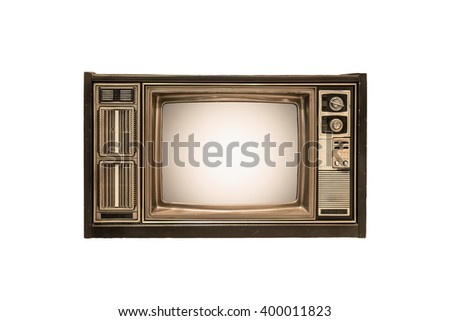 The retro TV on white background - stock photo