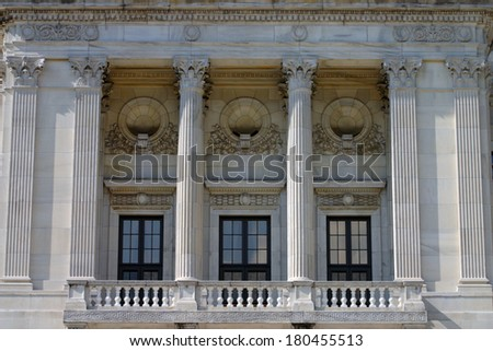The Rhode Island State House is the capitol of the U.S. state of Rhode Island  - stock photo