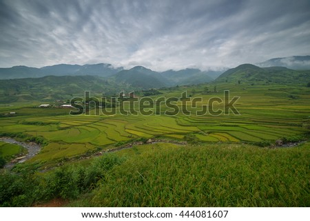 The rice terrace farmâ??s landscape with rural scene and the beautiful sky and surroundings - stock photo