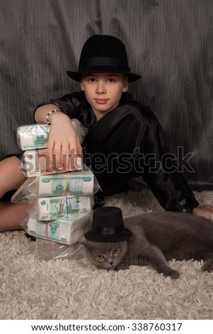 the rich teenager and is a lot of Russian money  - stock photo