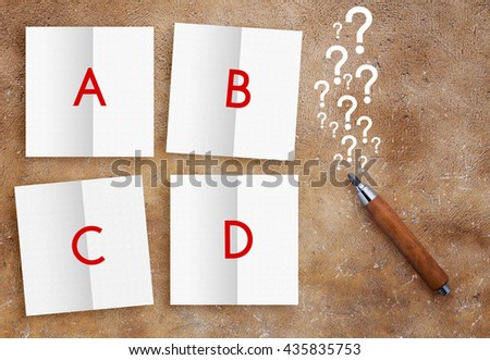 the right answer business concept pencil and white paper on brown texture background - stock photo