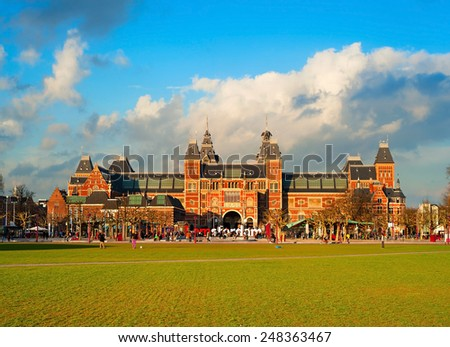 The Rijksmuseum Amsterdam museum area with the words IAMSTERDAM. Netherlands  - stock photo