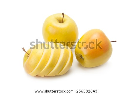the ripe and juicy apples isolated on a white background - stock photo