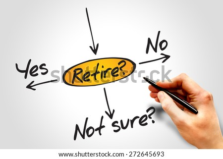 The risk to take the retirement, decide diagram - stock photo