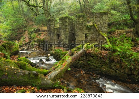 The river Kennall flowing cascading past an abandoned gunpowder works at Kennall Vale nature reserve near Ponsanooth in Cornwall - stock photo