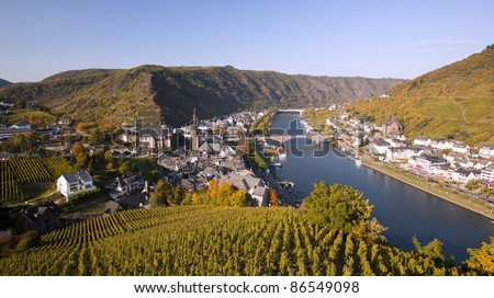 The river Mosel along the idyllic small city Cochem, Germany. - stock photo