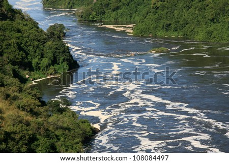 The River Nile, Murchison Falls National Park Safari Reserve in Uganda - The Pearl of Africa - stock photo