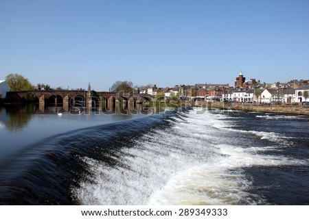 The River Nith and old bridge at Dumfries, Scotland. - stock photo