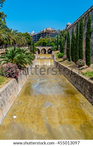 The River Torrent de sa Riera in Palma, Mallorca, Spain - stock photo