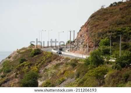 The road on the mountain, Nha Trang, Vietnam - stock photo
