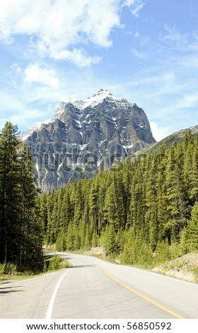 The road to Banff National Park - stock photo