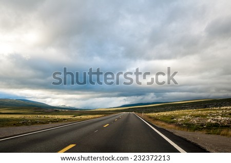 The road to Polar Circle, Norway - stock photo