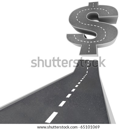 The Road to Riches -  a black pavement road leading to a dollar sign - stock photo