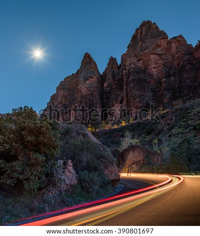 The roads of Zion by night - Zion National Park  - stock photo